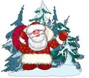 Santa Claus Ded Moroz mit Geschenken im feenhaften Wald Stockbild
