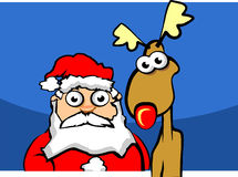 Santa claus with deer. In forest Royalty Free Stock Image