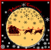 Santa claus and the deer. Illustration of a traditional red-suited Christmas Santa Claus riding through the sky in a sleigh pulled by reindeer Royalty Free Stock Image