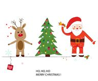 Santa claus, deer and Christmas tree. Happy new year and merry christmas greeting card Royalty Free Stock Photos