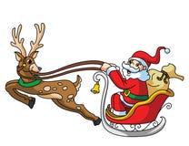 Santa Claus With Deer e regalo Immagini Stock Libere da Diritti