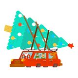 Santa Claus and deer and elf in car. Carry Christmas tree. Santa Claus and deer and elf in car. Carry Christmas tree and gifts.  Happy New Year. Xmas vector Stock Photo