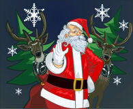 Santa Claus and deer vector illustration