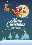 Santa claus and the deer fly around the night sky Royalty Free Stock Photos