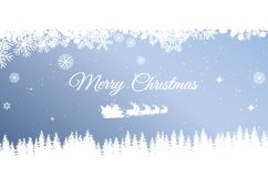 Santa claus with a deer flying over a forest on a snowy. Hill. winter design of christmas card, light blue background Stock Photos
