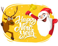 Santa Claus and Deer, Happy New Year lettering card, 2017 Stock Photography