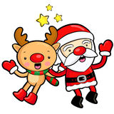 Santa Claus and deer mascot the event activity. Christmas Charac Stock Photo