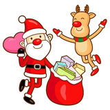 Santa Claus and deer mascot the event activity. Christmas Charac Royalty Free Stock Images