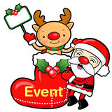 Santa Claus and deer mascot the event activity. Christmas Charac Stock Photos