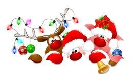 Santa Claus, deer and piglet 1 vector illustration