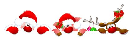 Santa Claus, deer and piglet royalty free stock images