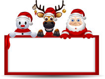 Santa claus ,deer and snowman with blank sign Royalty Free Stock Image