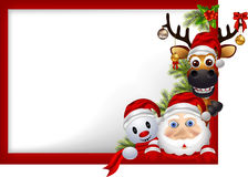 Santa claus ,deer and snowman with blank sign Stock Image