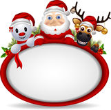 Santa claus ,deer and snowman with blank sign Stock Photography