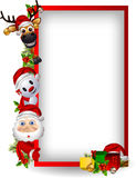 Santa claus ,deer and snowman with blank sign Stock Photos
