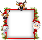 Santa claus ,deer and snowman with blank sign Stock Images