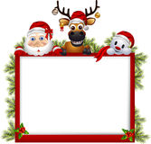Santa claus ,deer and snowman with blank sign Royalty Free Stock Images