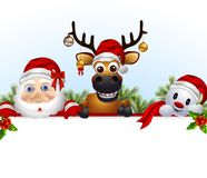 Santa claus,deer,and snowman cartoon with blank sign Royalty Free Stock Photography