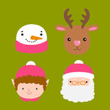 Santa Claus, deer, snowman, elf Stock Photo