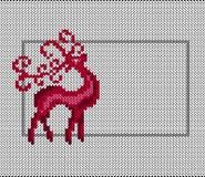 Santa Claus Deer Tissu tricoté par imitation Nouvelle année, Noël, vacances d'hiver Bannière, invitation, insecte Disposition hor illustration de vecteur