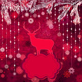 Santa Claus Deer vintage Christmas card. EPS 8 Stock Photos