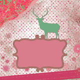 Santa Claus Deer vintage Christmas card. EPS 8 Stock Image