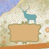 Santa Claus Deer vintage Christmas card. EPS 8 Royalty Free Stock Photos