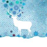 Santa Claus Deer vintage Christmas card. EPS 8 Stock Images