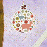 Santa Claus Deer vintage Christmas card. EPS 8 Royalty Free Stock Images