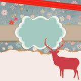 Santa Claus Deer vintage Christmas card. EPS 8 Stock Photo