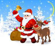 Santa and reindeer on the eve of Christmas stock illustration