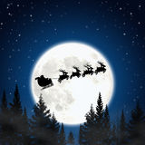 Santa claus and deers. Moon with santa claus and deers Royalty Free Stock Photography