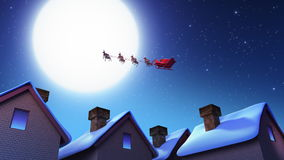 Santa Claus. And Deers. Flight over the city - Computer Animation