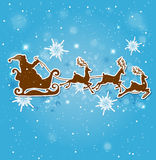 Santa Claus, deers and snowflakes Stock Image