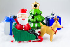 Santa Claus deliver happiness in Christmas day. Stock Image