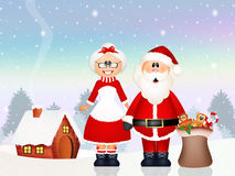 Santa Claus delivered gifts with his wife Stock Photo