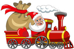 Santa Claus Delivering Big Sack by steam train Stock Photography