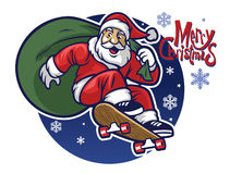 Santa claus delivering the christmas gift by riding a skateboard. Vector of santa claus delivering the christmas gift by riding a skateboard Royalty Free Stock Images