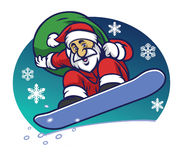 Santa claus delivering the christmas gift by riding a snowboard Stock Photo