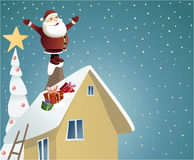 Santa Claus delivering gifts Royalty Free Stock Photos