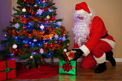 Santa Claus delivering presents under the tree. Royalty Free Stock Photos