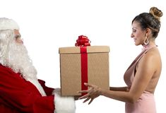 Santa Claus delivers the gift Stock Photo