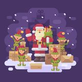 Santa Claus delivery service. Santa with a team of elves Royalty Free Stock Photos