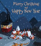Santa Claus descends into the Christmas valley village in cable car royalty free illustration