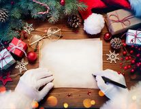 Santa Claus Desk With Letter royalty free stock images