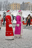 Santa Claus (Did Moroz) greets people, Christmas, Royalty Free Stock Image