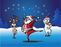 Santa Claus die in de sneeuw dansen Stock Fotografie