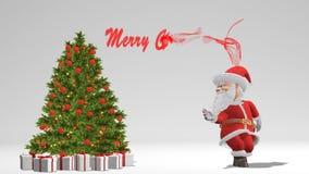 Santa Claus die dichtbij de Kerstboom dansen Het concept Kerstmis en Nieuwjaar Naadloze lijn stock footage