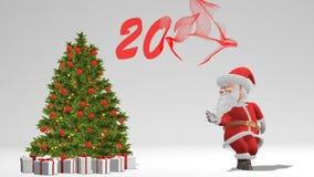 Santa Claus die dichtbij de Kerstboom dansen Het concept Kerstmis en Nieuwjaar Naadloze lijn stock videobeelden