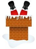 Santa Claus die door de Schoorsteen binnengaan royalty-vrije illustratie